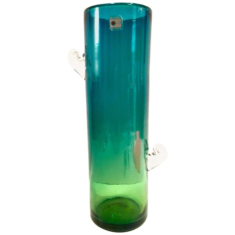 1980s Organic Modern Blown Glass Blue and Green Clear Handle Vase by, Blenko For Sale