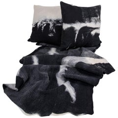 "Modern Rustic Wool ""Genesis"" Pillows and Blanket Throw Hand-Milled"