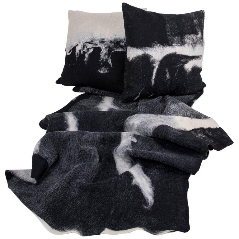 """Modern Rustic Wool """"Genesis"""" Pillows and Blanket Throw Hand-Milled For Sale"""