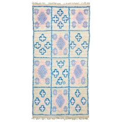Vintage Moroccan Wedding Blanket, Berber Pink and Blue Handira Throw