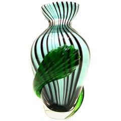 20th Century Italian Murano Glass Pinwheel Bud Vase