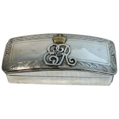 English Sterling and Gold Smoking Box with Cypher of King Edward VII