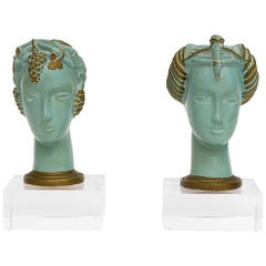 Set of Art Deco Chalk Ware Bust