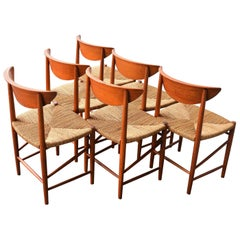 Set of Six Teak Hvidt & Mølgaard Model 316 Dining Chairs with Seagrass Seats