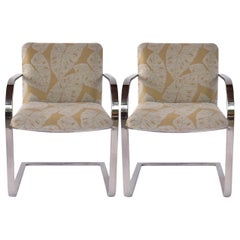 Pair of Mid-Century Modern Chrome Desk Chairs with Tropical Print by Brueton
