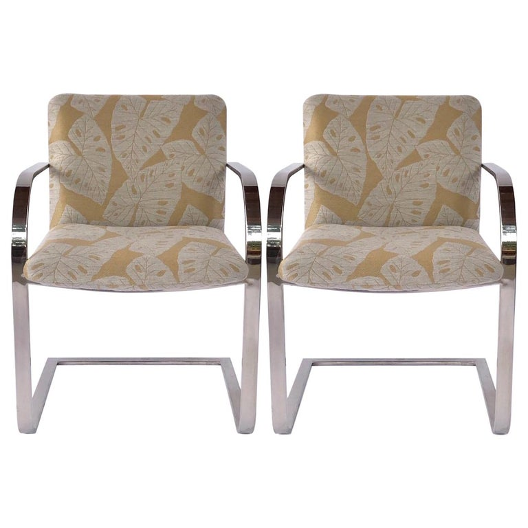 Pair of Mid-Century Modern Chrome Desk Chairs with Tropical Print by Brueton For Sale