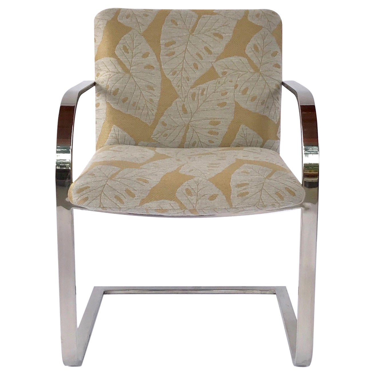 Mid-Century Modern Chrome Desk Chair with Tropical Print by Brueton