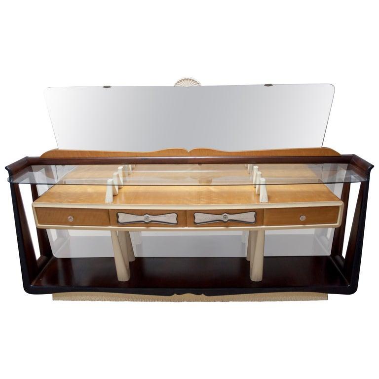 After Osvaldo Borsani Midcentury Italian Sideboard Console Table, 1950s For Sale