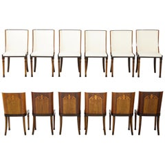 Rare Set of Swedish Grace Twelve Dining Chairs, Attributed to Carl Bergsten