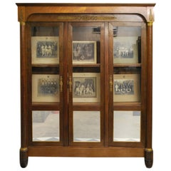 Antique French 19th Century Empire Mahogany Display Cabinet / Bookcase