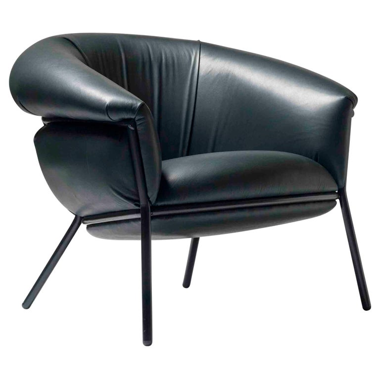 Stephen Burks Contemporary Green Leather and Iron 'Grasso' Armchair for BD For Sale