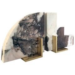 Odd Couple Bookends in Calacatta Viola Marble