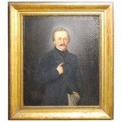 Large Antique Painting of an English Victorian Gentleman