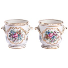 Pair of Limoges Porcelain Coolers with a Decor of Flowers, Early 20th Century