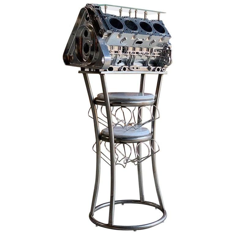 V8 Engine Glass Table: Wine Rack Twenty Bottles V8 Engine Block Steampunk Chromed