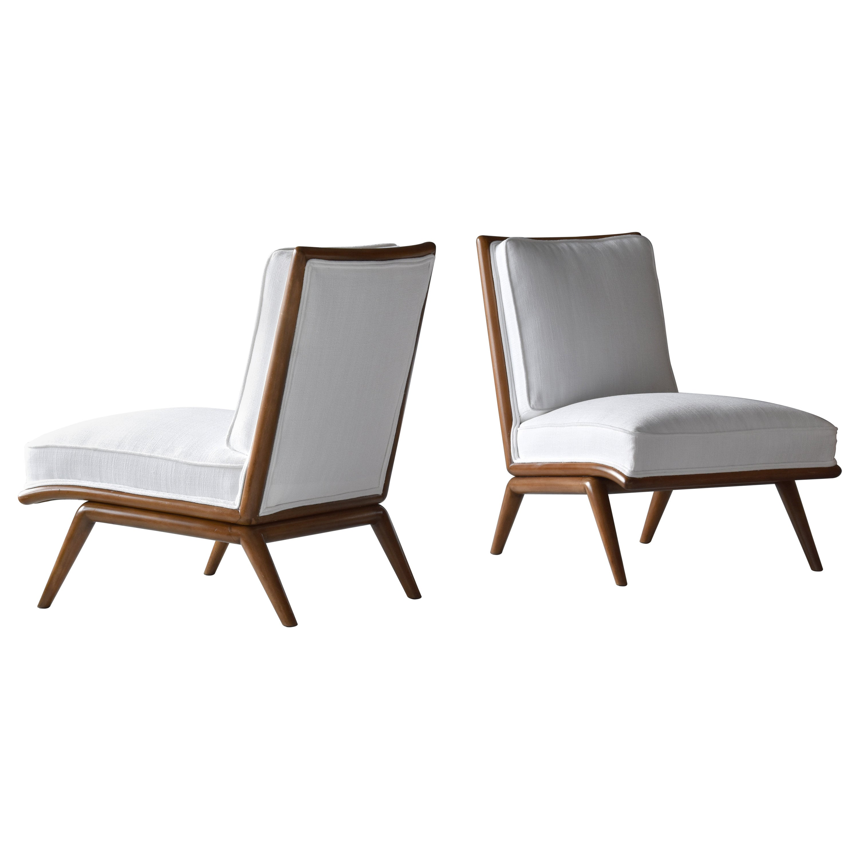 T.H. Robsjohn-Gibbings, Rare Slipper Chairs, Walnut, White Fabric, Widdicomb