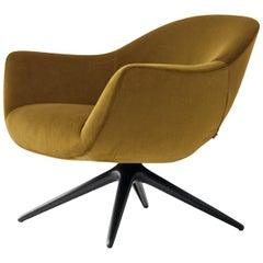 Mad Revolving Armchair in Ochre Yellow Velvet by Marcel Wanders for Poliform