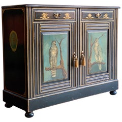 Antique Cabinet Side Cupboard Hand Painted Victorian 19th Century, circa 1780