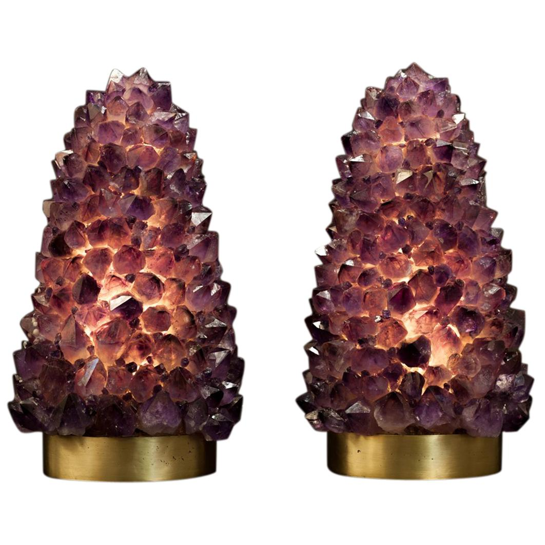 Pair of Natural Amethyst Table Lamps, Signed by Demian Quincke