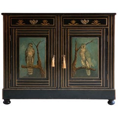 Antique Cabinet Side Cupboard Hand Painted Victorian, circa 1780