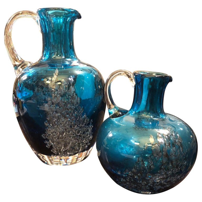 Set of Two Vintage Blue Glass Jugs by Mdina Glass, circa 1980 For Sale