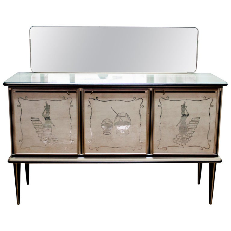Umberto Mascagni for Harrods London Midcentury Italian Bar Cabinet, 1950s For Sale