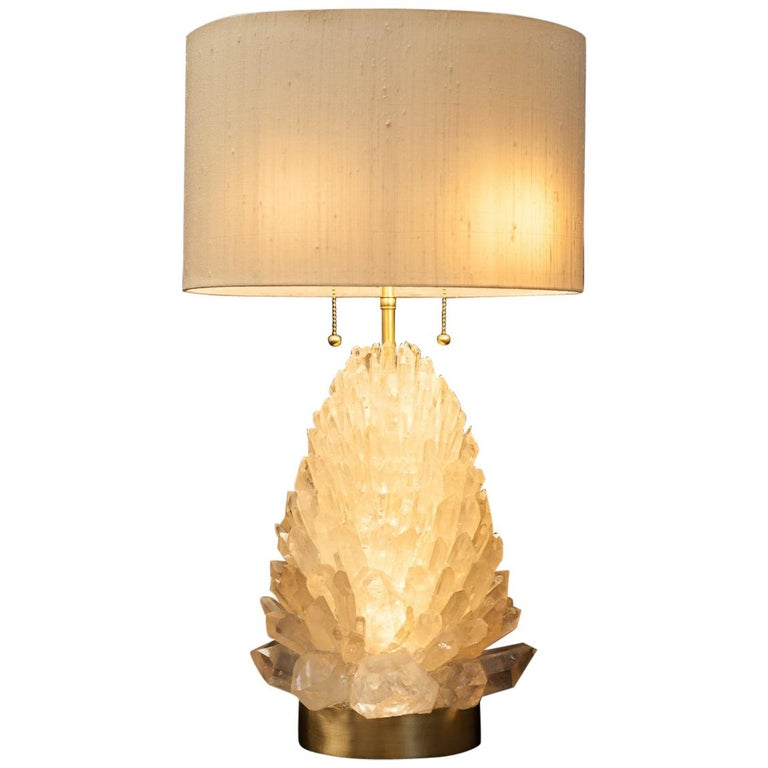 Natural Rock Crystal Table Lamp, Signed by Demian Quincke For Sale