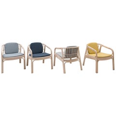 French Design Set of 4 Rattan Armchairs