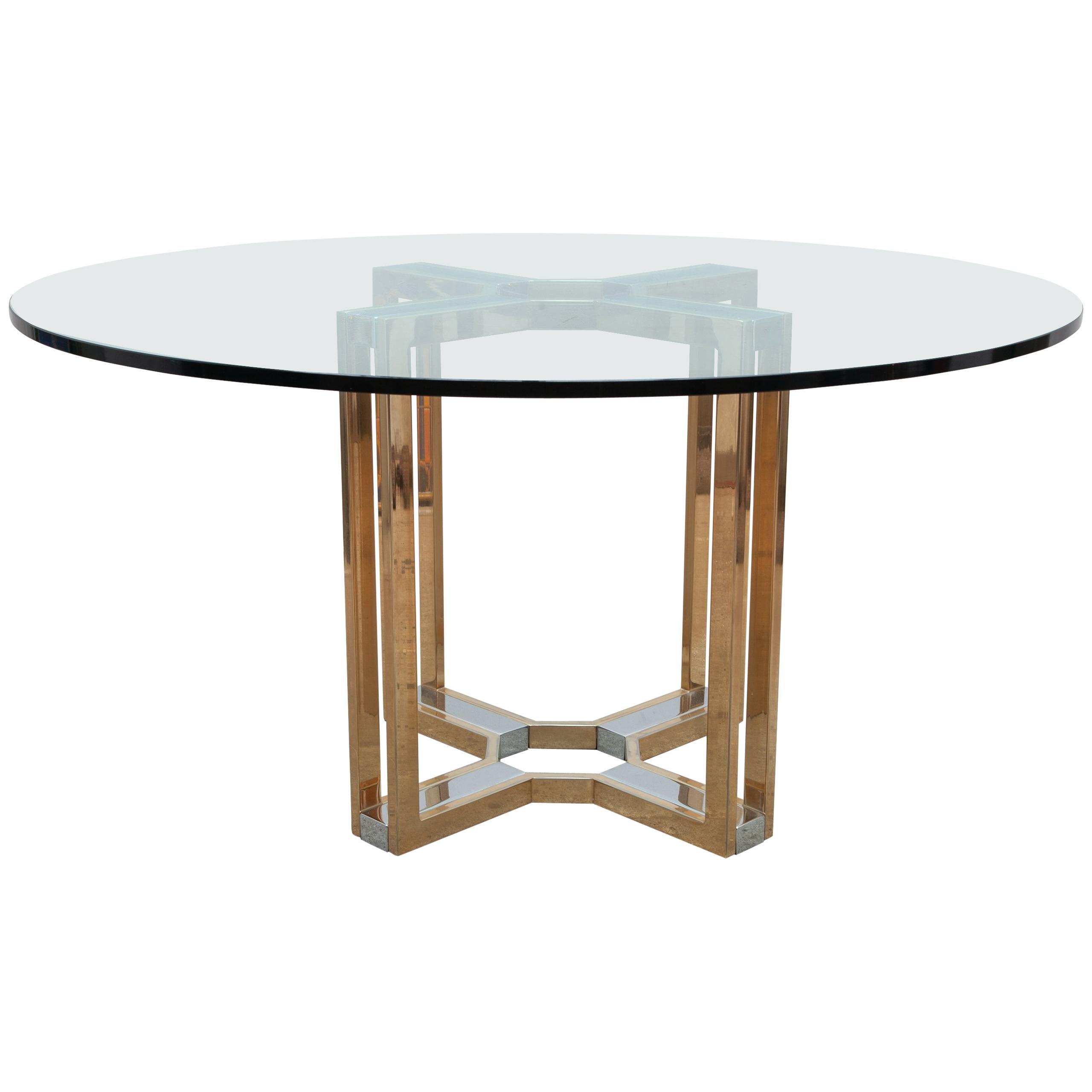 Romeo Rega Gold and Chrome Round Glass Top Centre Table
