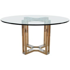 Romeo Rega Gold and Chrome Round Glass Top Centre Table