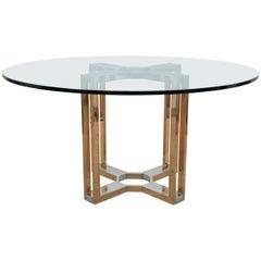 Romeo Rega Runder Gold und Chrom Tisch mit Glasplatte