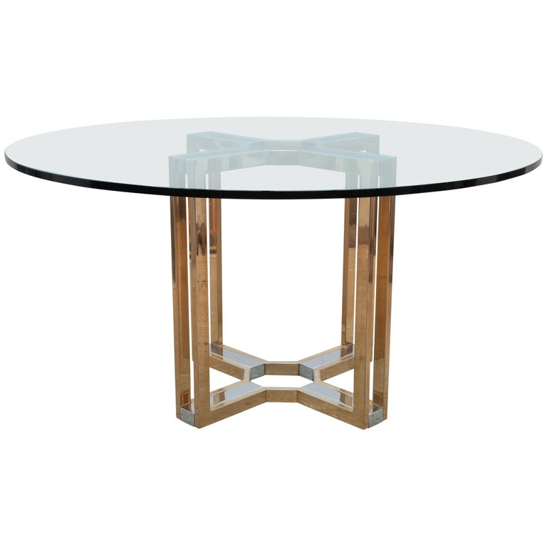Romeo Rega Gold and Chrome Round Glass Top Centre Table For Sale