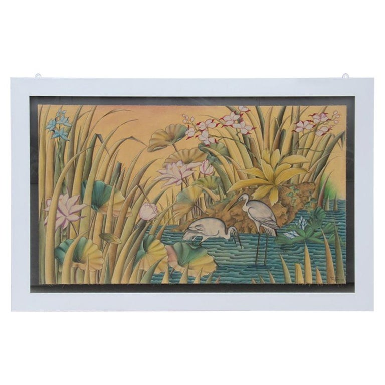 Bali Oil on Fabric Painted with Calla Lily Flowers Water Lilies Very Happy Stork For Sale
