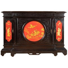 Large Chinese Style Cabinet in Black, Red and Gold Lacquered Wood, circa 1880