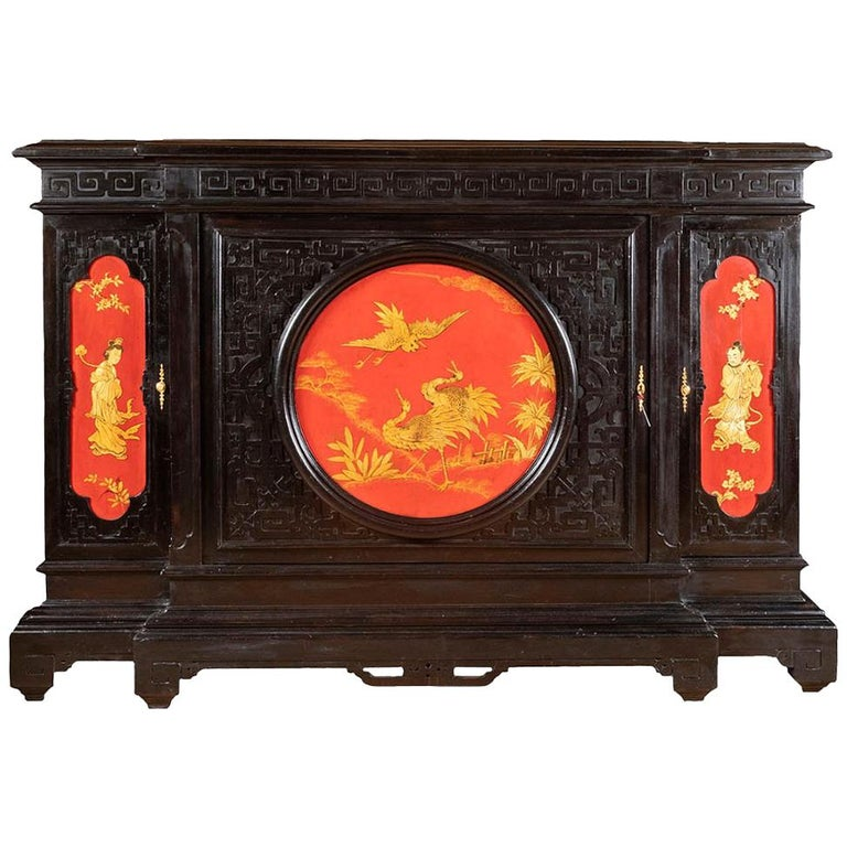 Large Chinese Style Cabinet In Black Red And Gold Lacquered Wood Circa 1880 For