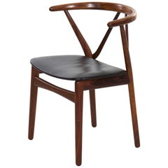 Midcentury Danish Modern Hoop Back Rosewood Chair by Kjaernulf for Hansen