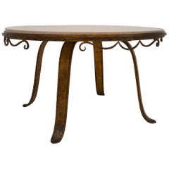 Art Deco Cast-Iron Gilded Coffee Table in the Style of Raymond Subes