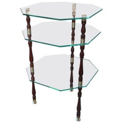 Coffee Table with Multiple Hexagonal Glass and Brass Glass Shelves Italian 1960s