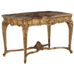 French Louis XV Style Marble Top, Giltwood Center Table, Paris, circa 1880