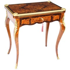Antique French Burr Walnut Marquetry Card / Writing Table, 19th Century