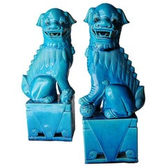 "Mid-Century Modern Pair of Blue Glazed Porcelain Oriental ""Foo"" Dogs, 1950s"