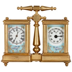Sèvres Style Gilt Brass and Porcelain Carriage Clock and Barometer