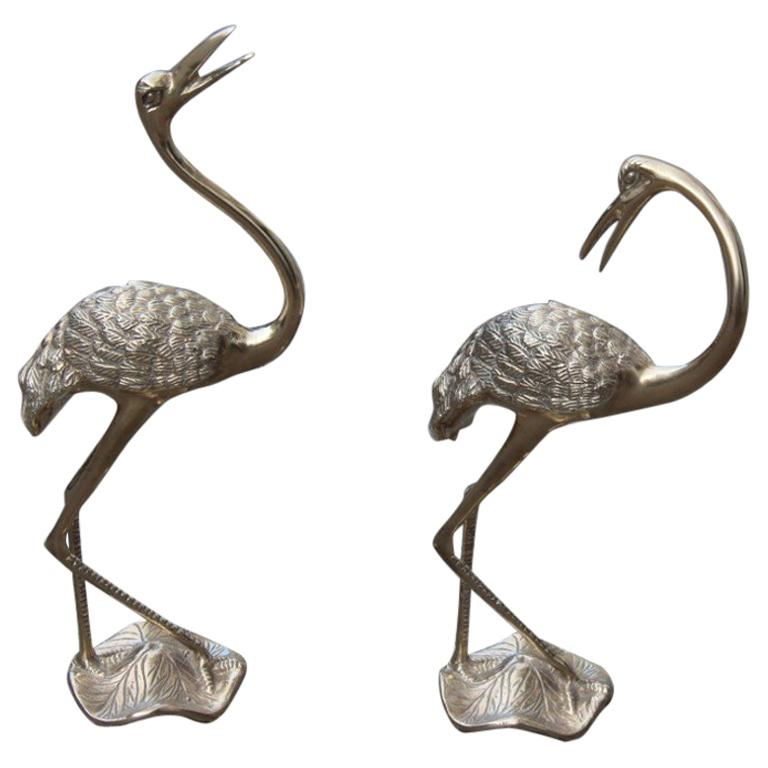 Pair of Brass Sculptures of 1960 Gold Colored Flamingos Solid Brass For Sale