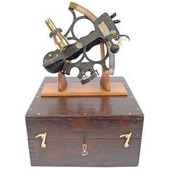 Brass Sextant in its Original Oak Wood Box, 1940s