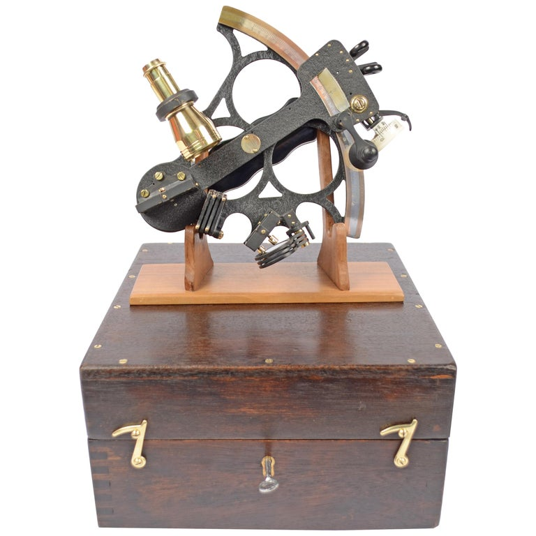Brass Sextant in its Original Oak Wood Box, 1940s For Sale