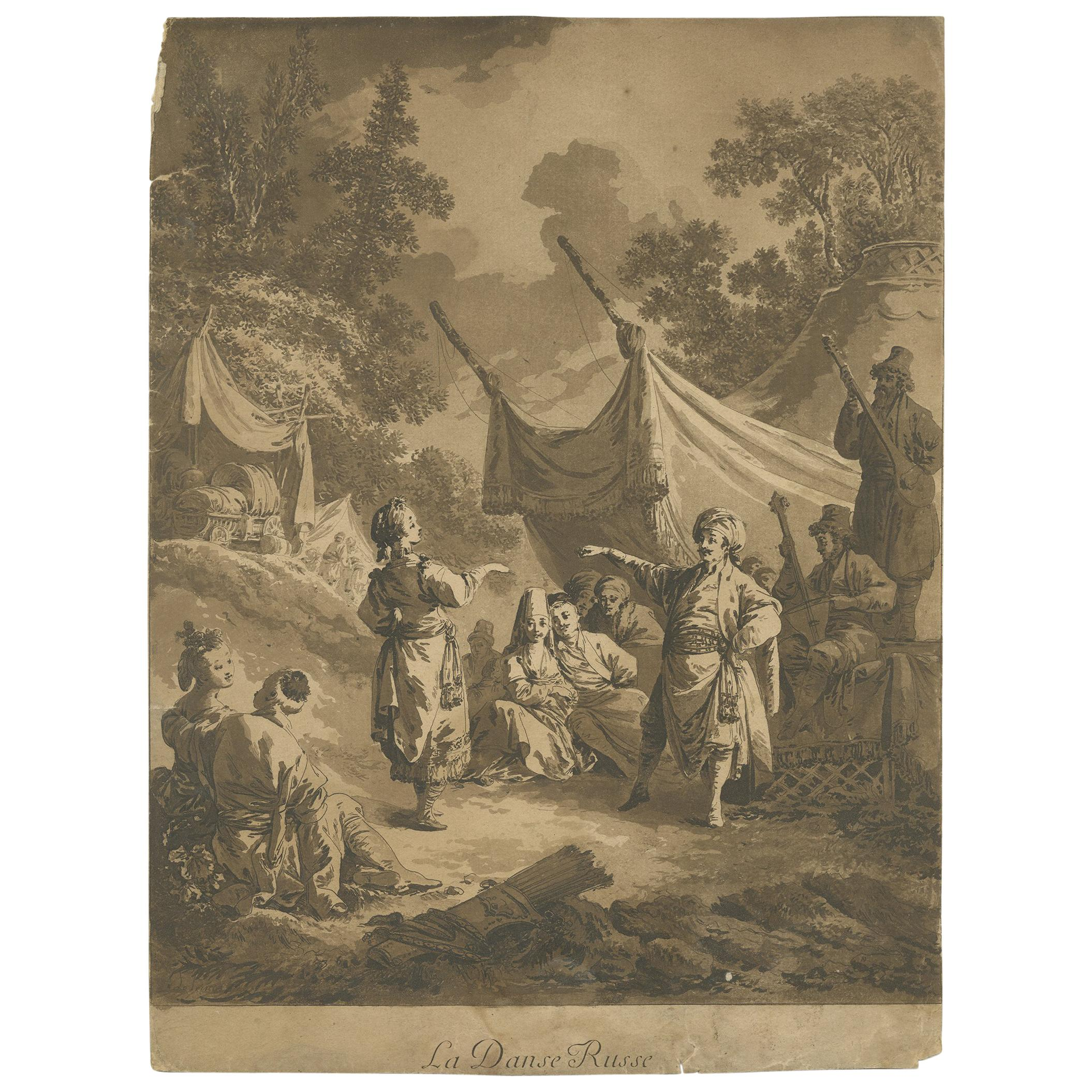 Antique Print of the Russian Dance by Le Prince, 1769
