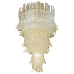 Extra Large Clear Murano Glass Mid-Century Modern Chandelier, by Barovier & Toso