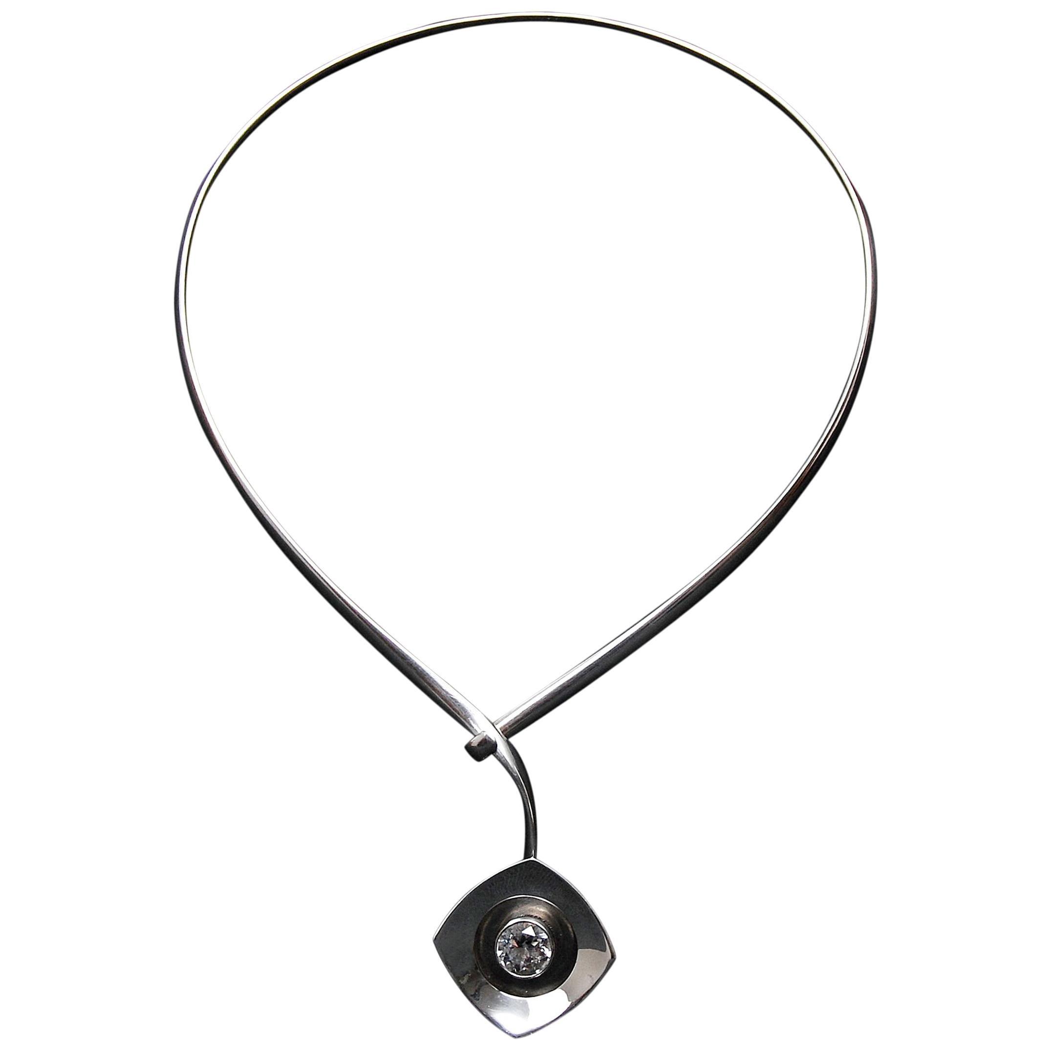 Sterling Silver Rock Crystal Modernist Necklace Alton Sweden, 1968