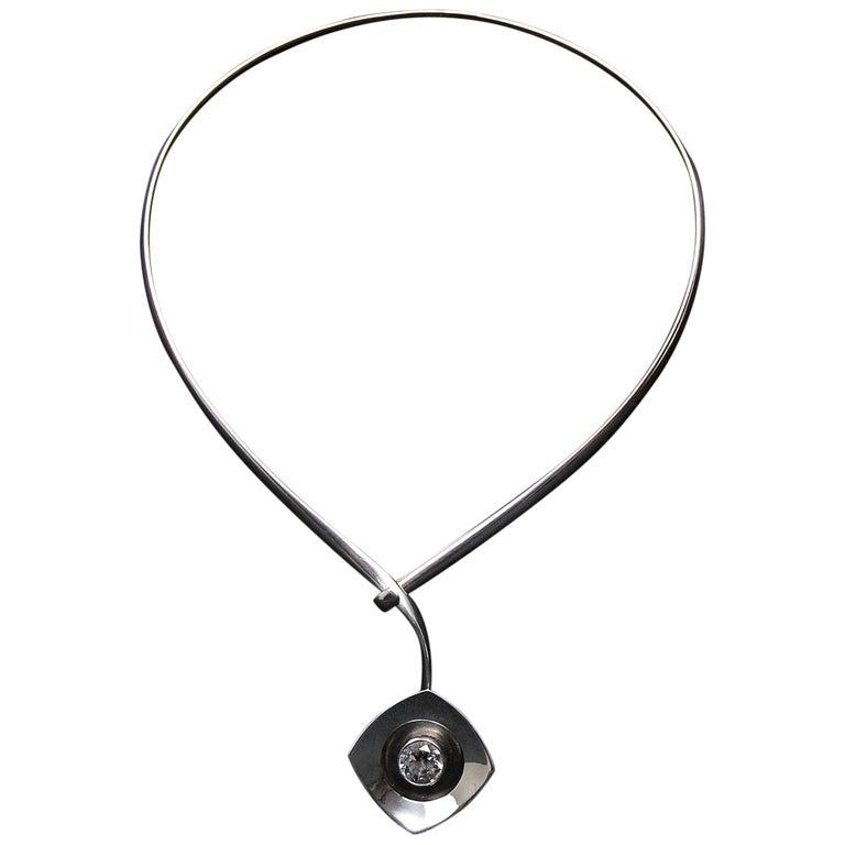 Sterling Silver Rock Crystal Modernist Necklace Alton Sweden, 1968 For Sale