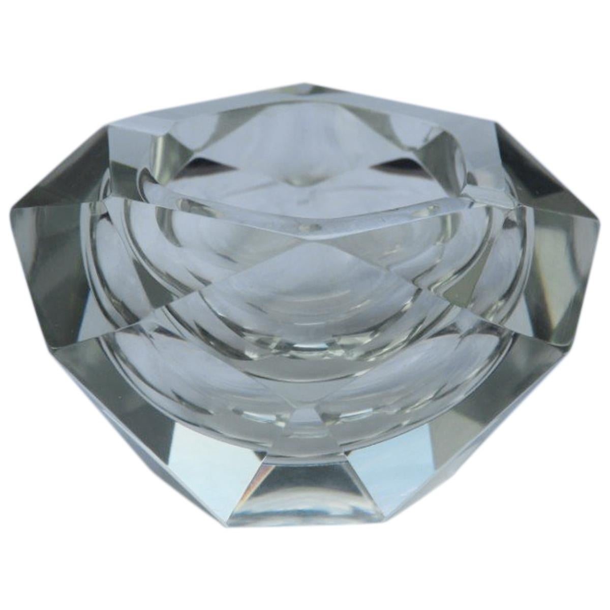Diamond Shaped Ashtray Shining Italy Design 1960s Transparent Glass